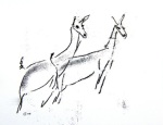 An outline drawing two alert deer by artist Jilly Cobbe