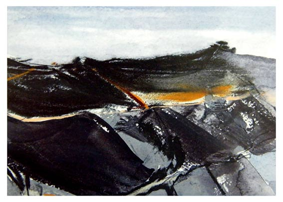 Abstract Landscape Artwork by Jilly Cobbe inspired by Bodmin Moor