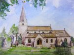 Detailed artwork of Bisley church by artist Jilly Cobbe