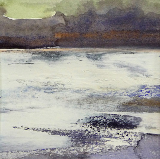 Abstract Landscape Painting inspired by the Estuary Waters at Arlingham by Artist Jilly Cobbe