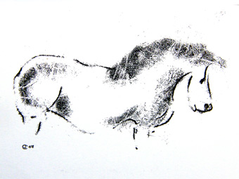 Drawing of a horse by artist Jilly Cobbe