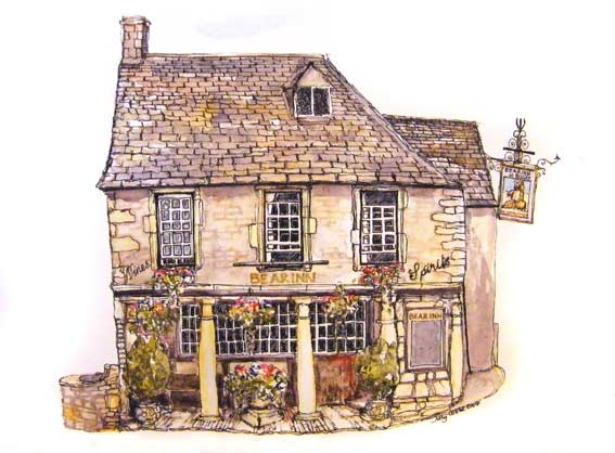 Detailed Painting of a pub The Bear at Bisley by Jilly Cobbe