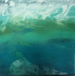 Abstract Painting in greens & blues of a Waterscape by Jilly Cobbe