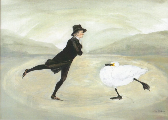 Painting of a skating minister and a swan inspired by The Skating Minister, is an oil painting attributed to Henry Raeburn by painter Jilly Cobbe